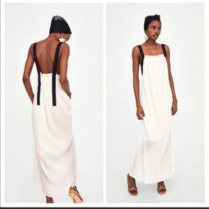 ✨{Zara} Pleated Long Dress w/ Contrasting Straps✨
